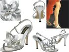 Johnathan Kayne Hawaii Slingback Silver Sandals Flower Accent, Rhinestone Center