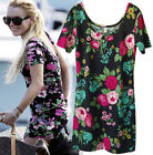 d426 Celebrity style Vintage dress Floral mini dress