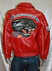 DAVOUCCI RED WILD CAT GENUINE LEATHER JACKET