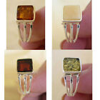 BALTIC CHERRY, WHITE, GREEN or HONEY AMBER & STERLING SILVER RING VARIOUS SIZES