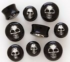 Pair BLACK ACRYLIC SKULL PLUGS Body Piercing Jewelry Gauges Tunnels Choose Size