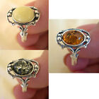 BALTIC WHITE, GREEN or HONEY AMBER & STERLING SILVER RING VARIOUS SIZES