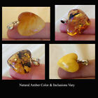 BUTTERSCOTCH, HONEY or MULTICOLOR AMBER & STERLING SILVER HANDMADE HEART PENDANT