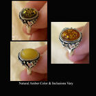 BALTIC BUTTERSCOTCH GREEN or HONEY AMBER STERLING SILVER RING