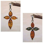 BALTIC HONEY or TWO-COLOR AMBER & STERLING SILVER CROSS PENDANT CHARM