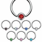 Crystal Gem CBR Captive / Nipple / Nose / Navel Ring - Choose Your Size / Colour