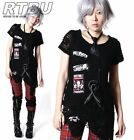 Punk Unisex Patch Corroded Tulle Overlay Irregular Drawstring Shirt & Neck Tie