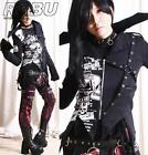 Unisex Gothic Punk Zip Denim Blazer Sawtooth Uniform Jacket Corset Cincher Belt