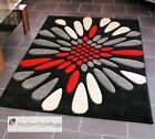 Black Red Cream and Grey Burst Pattern Rug - Very Modern Design - In 2 Sizes
