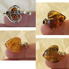 BALTIC AMBER & STERLING SILVER HANDMADE HEART PENDANT VARIOUS COLORS