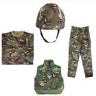 Kids Boys Soldier Army Camo - Clothing Helmet, Trousers, Camo Tee and Bodywarmer