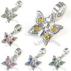 Wholesale Lot 10pcs Butterfly Silver CZ Dangle European Charm Beads For Bracelet