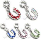 Wholesale Lot 10pcs Horse Shoe Silver CZ Dangle European Charm Bead For Bracelet