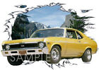 1969 Gold Chevy Nova SS Custom Hot Rod Mountain T-Shirt 69, Muscle Car Tee's