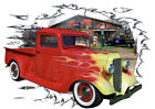 1936 Red Flames Chevy Pickup Truck Custom HotRod Garage T-Shirt 36, Muscle Car T