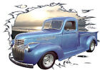 1941 Blue Chevy Pickup Truck Custom Hot Rod Sun Set T-Shirt 41, Muscle Car Tee's