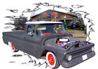 1963 Black Chevy Pickup Truck Custom Hot Rod Garage T-Shirt 63, Muscle Car Tee's