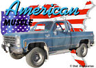 1976 Blue Chevy 4X4 Pickup Truck Custom Hot Rod USA T-Shirt 76, Muscle Car Tee's