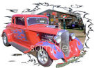 1933 Red Plymouth Blown Coupe Custom Hot Rod Garage T-Shirt 33, Muscle Car Tee's