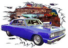 1964 Blue Chevy Chevelle Blown Custom Hot Rod Diner T-Shirt 64, Muscle Car Tee's