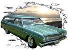 1965 Green Chevy Chevelle Station Wagon Hot Rod Sun Set T-Shirt 65, Muscle Car T