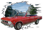 1966 Red Chevy Chevelle SS Convertible Hot Rod Mountain T-Shirt 66, Muscle Car T
