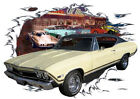 1968 Yellow Chevy Chevelle Super Sport b Hot Rod Diner T-Shirt 68, Muscle Car T