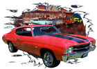 1971 Red Chevy Chevelle SS Super Sport Hot Rod Garage T-Shirt 71, Muscle Car Tee