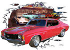 1972 Red Chevy Chevelle SS Super Sport Hot Rod Diner T-Shirt 72, Muscle Car T