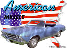 1969 Blue Chevy Chevelle b Custom Hot Rod USA T-Shirt 69, Muscle Car Tee's