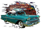 1958 Green Chevy Impala a Custom Hot Rod Diner T-Shirt 58, Muscle Car Tee's