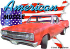 1965 Red Chevy El Camino a Custom Hot Rod USA T-Shirt 65, Muscle Car Tee's