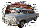 1958 Gray Chevy Delray Custom Hot Rod Diner T-Shirt 58, Muscle Car Tee's