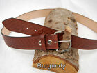 "Barsony Heavy Duty Genuine Burgundy Leather Basket Weave Belt 1 3/4"" Size 57-58"