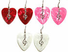 RED HOT PINK or WHITE HEART SHAPED GUITAR PICK DANGLE EARRINGS~3 CHOICES~U PICK