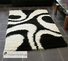 Black and Cream Shaggy Pile Designer Rug - Available in 3 Large Room Sizes
