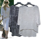 CELEBRITY sty SLOUchy Loose relaxed fit Asymmetrical Burn out cotton top
