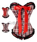 Plaid Body Check Corset & Ruffle Trim Bustier Size S-2XL Bow Tie GL-A3006_red