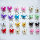 "10 of 1""(2.54cm) Nylon Glitter Artificial Butterfly Rhinestone Wedding Favor"