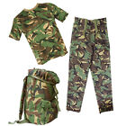 Kids Boys Army Camo T-Shirt, Trousers & Rucksack Fancy Dress Up Costume Soldier