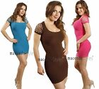 SEXY Basic Cut out Fitted Bandage Mini Dress Tunic cutout One size Casual S M L