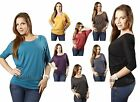 Boatneck Dolman 3/4 Sleeve Loose Fit Basic Casual Solid Jersey Tee Shirt Top