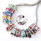 30pc 18KGP Crystal Round Charm Bead Fit European Bracelet AA082
