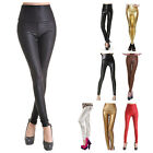 WOMEN Sexy Faux LEATHER Wet LOOK HIGH Waist/Waisted Leggings/JEGGINGS Pants S-XL