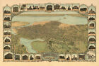 Oakland 1899 California Buildings Church Map Bird Eye View Poster Repro FREE S/H