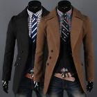 Vintage Men's Trench Coat Winter Long Jacket Single Breasted Overcoat Wool S~XL