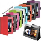 Amazon Kindle FIRE HD Leather Case Cover + Flip Stand Folio + Easy Hold Free Pen