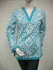 Tracy Negoshian Aqua Blue White Print Maria Tunic Top 100% Cotton New NWT