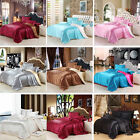 Solid Quilt Doona Duvet Cover Set Queen Size Bed Covers Linen Pillow cases New