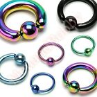 Titanium Anodized Captive Bar Ring Hoop Body Piercing Jewellery